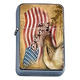 Vintage American Flag Flip Top Oil Lighter D8 Patriotic Freedom American Heroes Veterans