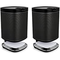 Sonos Play:1 All-In-One Wireless Music Streaming Speakers with Flexson Illuminated Charging Stands - Pair (Black)