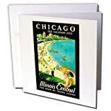 3dRose Greeting Cards, 6 x 6 Inches, Pack of 6, Vintage Chicago the Vacation City Travel Poster (gc_126038_1)