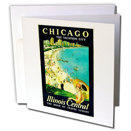 3dRose Greeting Cards, 6 x 6 Inches, Pack of 6, Vintage Chicago the Vacation City Travel Poster (gc_126038_1) by 3dRose