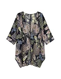 Outique - Blusa Tipo Kimono de Manga Larga con Estampado Floral, Suave, Suelta, para Mujer
