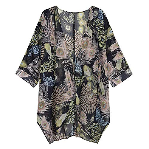 Clearance Women Shirts And Blouses,Womens Long Sleeve V Neck Floral Print Cardigan Tunic Shirt Casual Loose Kimono Pullover Top Fashion T-Shirt Sport Sweatshirt Shirt For Work (Chiffon) S-2XL Black