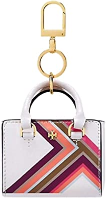 Amazon Com Tory Burch Women S Robinson Multi Stripe Siffiano Leather Mini Tote Keychain Bag Charm New Ivory Shoes