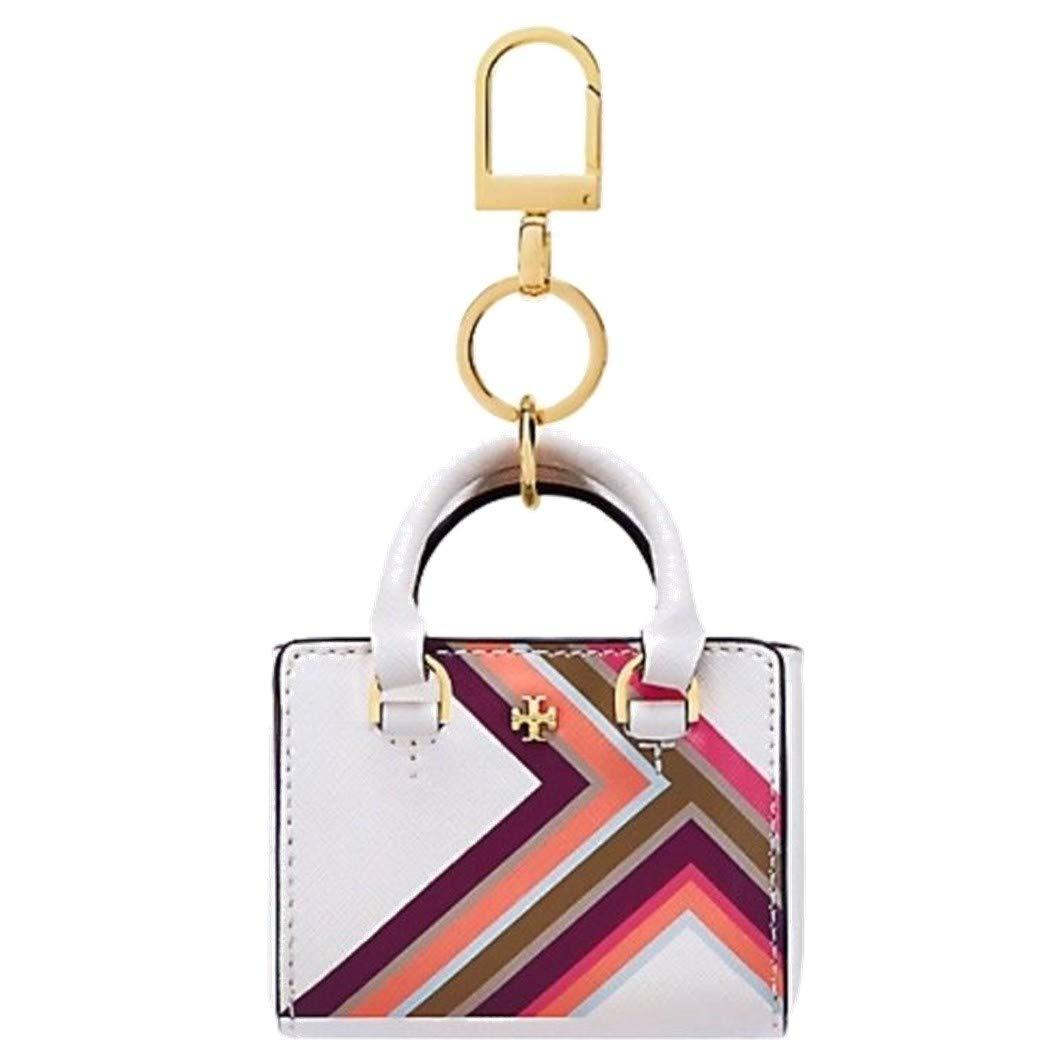 Tory Burch Women's Robinson Multi Stripe Siffiano Leather Mini Tote Keychain Bag Charm (New Ivory)