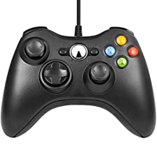 Diswoe Xbox 360 Controller Wired USB Game Controller For Microsoft Xbox & Slim 360 PC Windows 7- Black