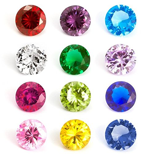 """Jewelry Monster Pack of 12 """" 5mm Birthstones Round or Heart or Star """" for Floating Charm Lockets (Round Mixed)"""