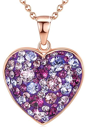 Esottia Multi-Stone Heart Pendant Necklace Fill Your Heart with Love Made with Swarovski Crystals 18K Rose Gold Plated 18