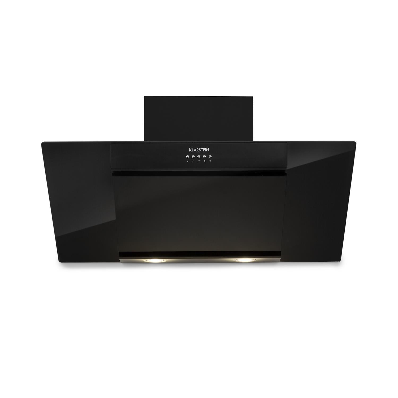 Klarstein Zola /• Cappa aspirante /• Aria di scarico//ricircolo /• 3 gradini /• Max 635 m/³//h /• Silenzioso /• Vetro /• LED /• Montaggio parete /• 90 cm /• filtro alluminio /• senza testa /• Ner Estratto