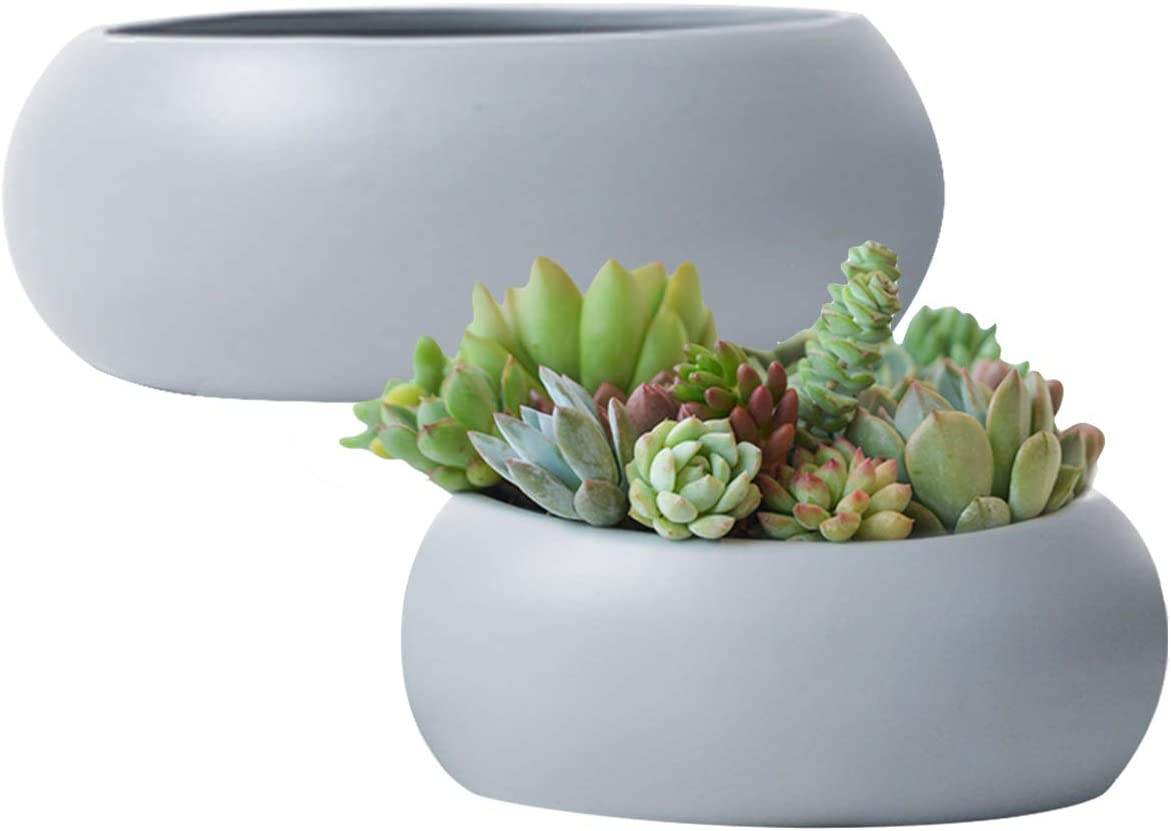 Succulent Planter Flower Pots,Large Round Ceramic Garden Container Indoor Decor,Gray Set of 2, 10.6 Inch