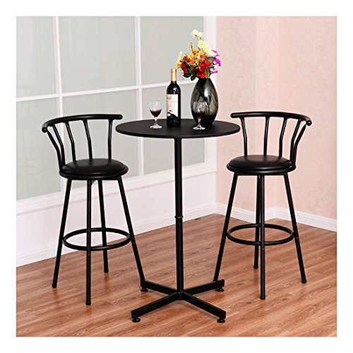 3 Piece Bar Table Set with 2 Stools Bistro Pub Kitchen Dining Furniture Black (Chaise Bistro)