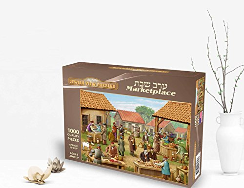 Jewish View Puzzles Game, Summer gift for Kids, Great Jewish gift Idea Giving on Holidays for Adults, Teens and Family as a parent-child relationship. Puzzle of 1000 pieces. Shabbat Marketplace Puzzle