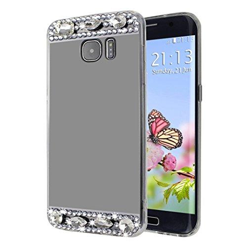 Fundas Galaxy S7 Edge, TPU Galaxy S7 Edge Teléfono de Cáscara, Moon mood® Espejo Rhinestones Bling Glittar con Anillo Rotación de 360 Grados Soporte Función TPU Silicona Delgado Mirror Efecto Caso Tra Negro