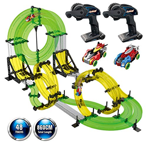 Remoking Rail Race RC Track Car Toys 860cm Build Your Own 3D Super Track Ultimate Slot Car Playset 2 Cars 2 Remote Controller Party Game Kids Friends from Remoking