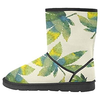 InterestPrint Women's Snow Boots Unique Designed Comfort Winter Boots Cannabis Leaves