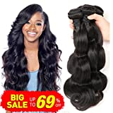 Bestsojoy Brazilian Virgin Hair Body Wave 3Bundles Remy Human Hair Weaves 100% Unprocessed Hair Extensions Natural Color 8A (12 14 16)