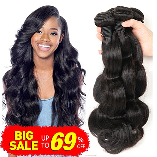 Remy Human Hair (Bestsojoy Brazilian Virgin Hair Body Wave 3 Bundles Remy Human Hair Weaves 100% Unprocessed Hair Extensions Natural Color 8A (12 14 16))