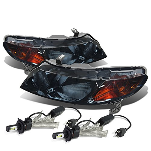 Honda Civic 4dr Sedan Headlight - For Honda Civic 8th Gen 4DR Sedan Pair of Smoked Lens Amber Corner Headlight + 9006 LED Conversion Kit