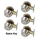 Gobrico Keyed-Alike Brushed Nickel Double Cylinder Deadbolts Door Locks Stainless Steel Keyed on Both Sides 5Pack