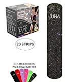 Luna Body Glitter Kinesiology Pro Tape Strips (20 Pre-Cut Roll, 10'' x 2'', Starry Night, Flex Stretch) for Medical/Sports / Athletic/Kinetic Ktape Muscle Brace/Physical Therapy Rock it Sport K!