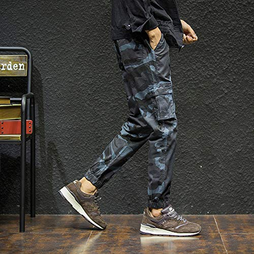 Wide Trousers Women,Mens Fashion Camouflage Points Feet Looser Casual Work Safety Clothing,Blue,XL