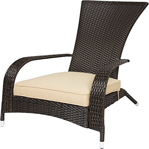 Best ChoiceProducts Wicker Adirondack Chair Patio Porch Deck Furniture Outdoor All Weather Proof (Wicker Porch Chairs)