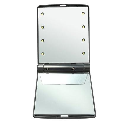 kkkkoss lady make cosmetische vouwen draagbare compacte pocket spiegel 8 led verlichting handheld spiegels