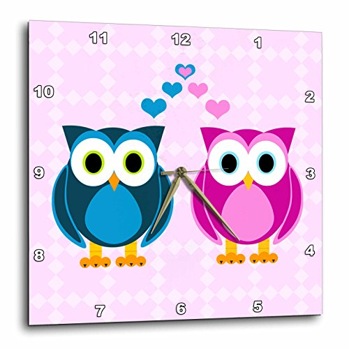 Janna Salak Designs True Love Owls Design Wall Clock