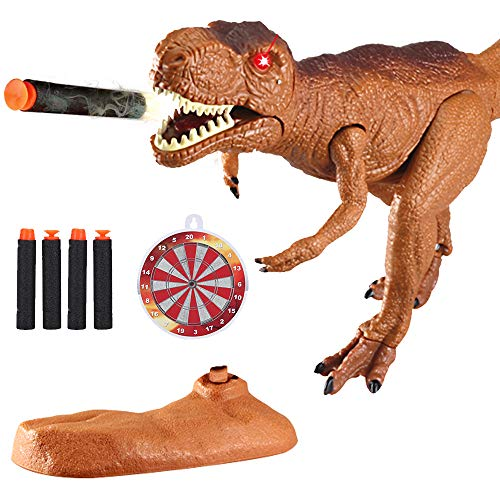 (Dino Planet Dinosaur Foam Dart Gun T-Rex Toy - Realistic Tyrannosaurus Rex Model for Kids with Shooting Roaring Sounds and Light Up Eyes)