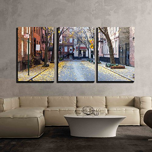 wall26 - 3 Piece Canvas Wall Art - Quiet Empty Commerce Street in The Historic Greenwich Village Neighborhood of Manhattan - Modern Home Decor Stretched and Framed Ready to Hang - 16