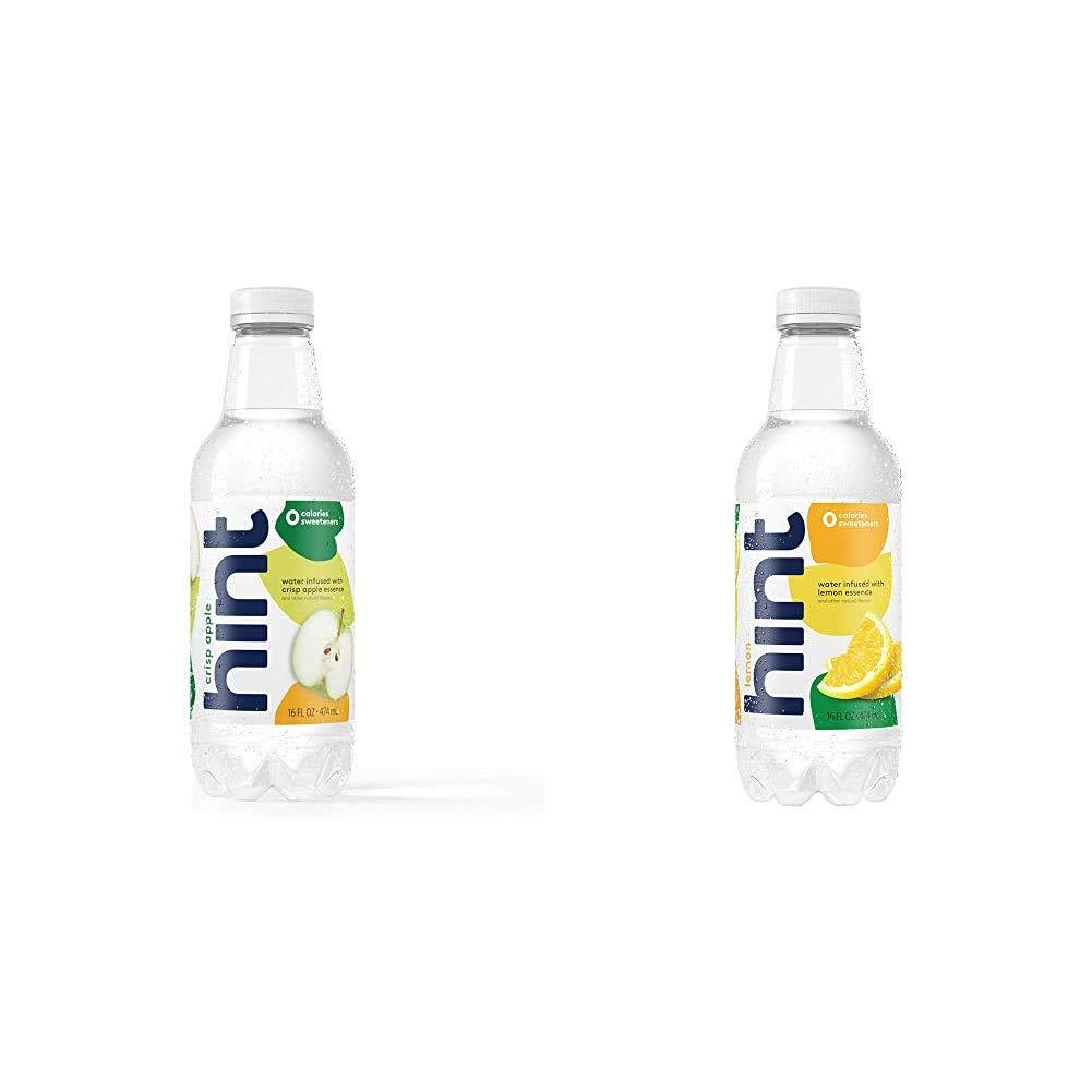 Hint Water Crisp Apple, (Pack of 12) 16 Ounce Bottles, Pure Water Infused with Crisp Apple, Zero Sug|Water Lemon (Pack of 12) 16 Ounce Bottles Pure Water Infused with Lemon Zero Sugar Zero Calorie