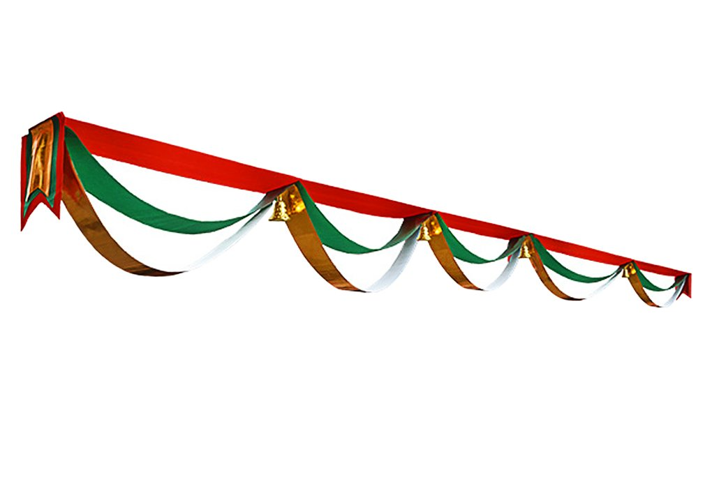 Christmas Decorations Wave Flag Hanging Flags Bunting Banner with Bells Balls Xmas Scene Arrangement Ornaments Home Hotel Shops Malls Ceiling Decorations Christmas Holiday Festival Party Decor