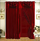 3-Layer Modern Black Burgundy Red Flock Satin Curtain Set with attached valance and sheer back