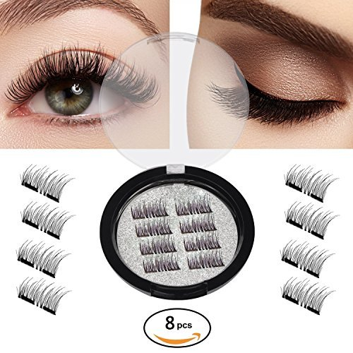 New Magnetic False Eyelashes-Ultra Thin 3D Fiber Reusable Best Fake Lashes Extension for Natural Look,Perfect for Deep Set Eyes & Round Eyes 2 Pairs