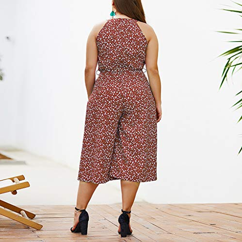 Ymibull Women Boho Floral Print Bow Rompers Casual Sleeveless Wide Leg Jumpsuit (Wine, XL) by Ymibull (Image #3)