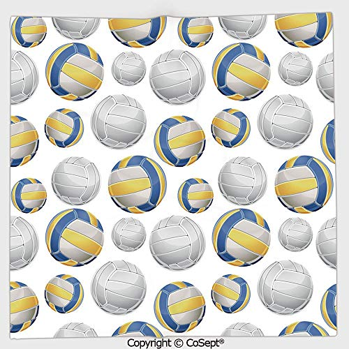(AmaUncle Long-Lasting and Soft Square Towel,Vivid Volley Balls Sports Icons Activity Hobby Team Game Athletics Decorative,for Men Women(9.84x9.84 inch),Blue Yellow White)