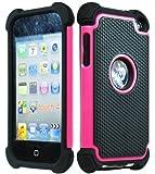 iPod Touch 4 Case, Bastex Hybrid Slim Fit Black Rubber Silicone Cover Hard