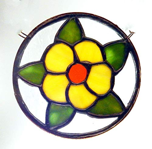 Bright Yellow and Orange Stained Glass Flower