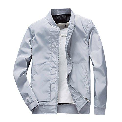 DINGQU Men's Casual Bomber Jacket Softshell Sportswear Lightweight Slim Jacket Coat (Small, Gray) (Casual Sportswear)