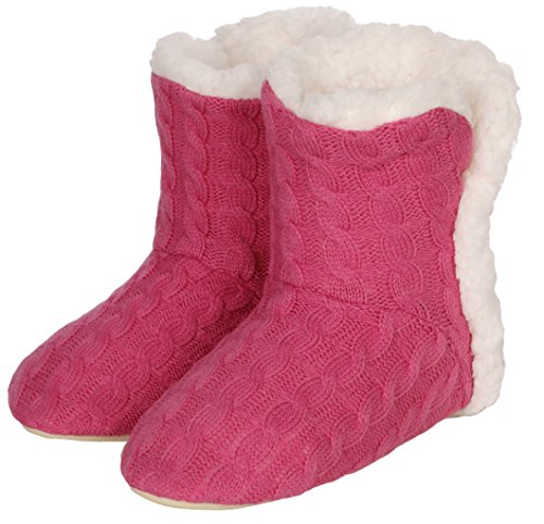 Emmalise Women's Slipper Boots Indoor Lounge Fur Shoes Fur Boots for women - Cable Knit Pink, S/M (25cm) from Emmalise