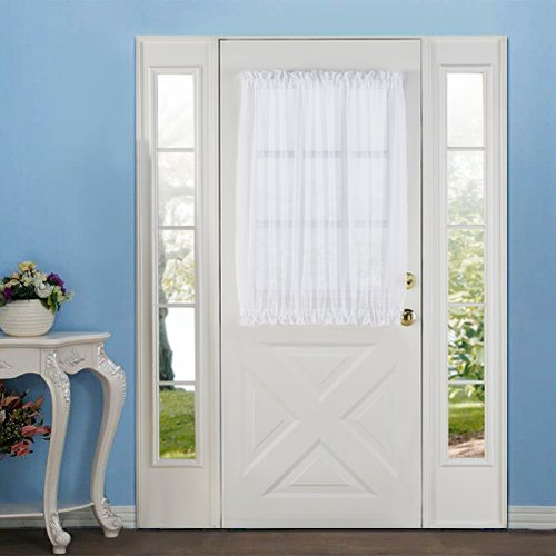 RHF Elegance Voile French Door Curtains/panel-Door curtains-60W by 40L Inches-White