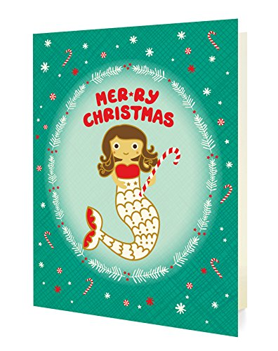 Mermaid Stationery (Night Owl Paper Goods Mermaid Christmas Folded Holiday Cards, 10 Pack)