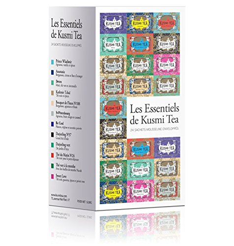 Kusmi Tea Essential Tea Assortment - Enjoy Our Best Tea Recipies From Earl Grey to Herbal Infusions Perfect Gift for Tea Lovers Feel Refreshed and Rejuvenated (12 Flavors 24 Muslin - Tea Anastasia