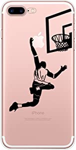 iPhone 7 Plus Case Basketball,Basketball for iPhone 7 Plus Case,Pattern Printed Clear Design Transparent for Boy,Personality Design Soft TPU Protective Phone Back Cover(5.5 Inch)