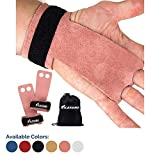 KAYANA 2 Hole Leather Gymnastics Hand Grips - Palm Protection and Wrist Support for Cross Training, Kettlebells, Pull ups, Weightlifting, Chin ups, Workout, Exercise (Youth Pink, Small)