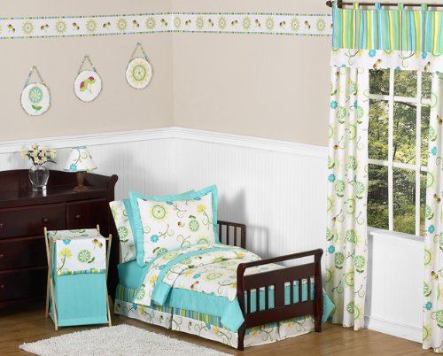 Sweet Jojo Designs Turquoise and Lime Layla Bed Skirt for Toddler Bedding Sets