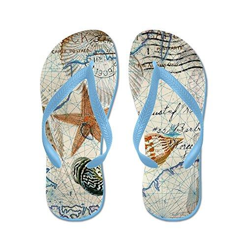 Carta Da Parati Conchiglie Carta Nautica Vintage Ancoraggio - Infradito, Divertenti Sandali Infradito, Sandali Da Spiaggia Blu Caraibico