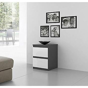 FINLANDEK Chevet NATTI contemporain gris et blanc mat - L 42 cm ...