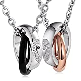 Aienid Matching Ring Sets Stainless Steel Pendant Necklace for Him and Her Puzzle Love Black& Rose Gold