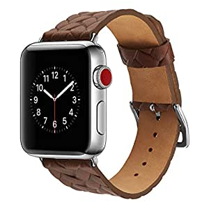 Genuine Cow Leather Embossed Woven Strap Bracelet Men/women watchband for apple watch Series 1/2/3 38/42mm Size (Brown, 42mm)
