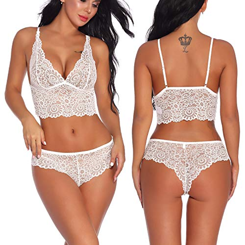 Women 2 Piece Lingerie Lace Babydoll Sexy Bra and Panty Set (XL, White)